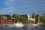 Schooners and Yachts in Rockport Harbor in the summer