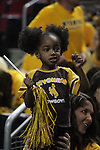 Wyoming fan Landree Edwards cheers for in a game against Northern Iowa during the 2015 NCAA Division I Men's Basketball Championship's March 20, 2015 at the Key Arena in Seattle, Washington.   Northern Iowa beat Wyoming 71 t0 54.   Jim Bryant Photo. All Rights Reserved.
