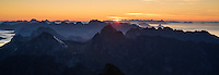 Sunrise from the summit of Hermannsdalstind, Moskenesøy, Lofoten Islands, Norway
