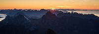 Sunrise from the summit of Hermannsdalstind, Moskenesøy, Lofoten Islands, Norway