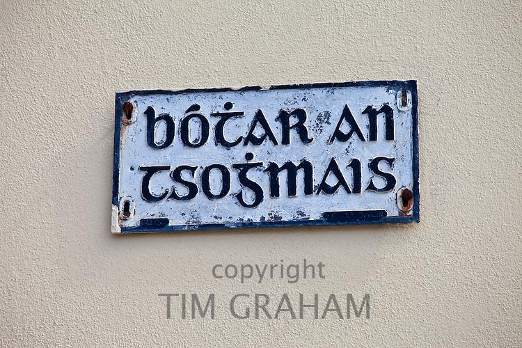 Botar an Tsojmais gaelic street sign in Meltown Malbay, County Clare, West of Ireland