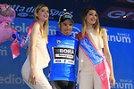Cesare Benedetti (ITA) Bora-Hansgrohe wears the mountains blue jersey at the end of Stage 1 of the 100th edition of the Giro d'Italia 2017, running 206km from Alghero to Olbia, Sardinia, Italy. 4th May 2017.<br /> Picture: Eoin Clarke | Cyclefile<br /> <br /> <br /> All photos usage must carry mandatory copyright credit (&copy; Cyclefile | Eoin Clarke)<br /> <br /> All photos usage must carry mandatory copyright credit (&copy; Cyclefile | LaPresse)