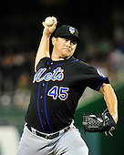 New York Mets pitcher Jason IIsringhausen (45) works in the ninth inning against the Washington Nationals at Nationals Park in Washington, D.C. on Friday, July 29, 2011.  The Mets won the game 8 - 5..Credit: Ron Sachs / CNP.(RESTRICTION: NO New York or New Jersey Newspapers or newspapers within a 75 mile radius of New York City)