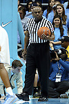 16 February 2013: Referee Les Jones. The University of North Carolina Tar Heels played the University of Virginia Cavaliers at the Dean E. Smith Center in Chapel Hill, North Carolina in a 2012-2013 NCAA Division I and Atlantic Coast Conference men's college basketball game. UNC won the game 93-81.
