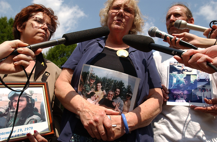 """Members of Gold Star Families for Peace visited Washington to call on members to support a """"Resolution of Inquiry"""" into the so-called Downing Street Memo.  They believe the Memo  proves that the war in Iraq was based on prefabricated intelligence.  From left are Dianne Davis Santorello who lost her son Lt. Neil Anthony Santorello, Celeste Zappala who lost her son Sgt. Sherwood Baker, and Bill Mitchell who lost his son Army Sgt. Michael Mitchell"""