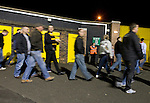 Alloa Athletic football supporters making their way out of their team's Recreation Park ground after the Co-operative Insurance Cup second round match with visitors Aberdeen. Scottish League second division Alloa lost the match by three goals to nil against their Premier League rivals in a match watched by 1649 spectators.