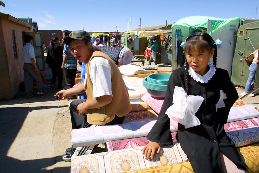 GOBI DESERT, MONGOLIA..09/03/2001.Bayanhongor (Bayankhongor). At the market. Containers serving as mobile shops..(Photo by Heimo Aga).