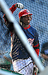16 August 2008: Washington Nationals' outfielder Lastings Milledge watches teammates take batting practices at the batting cage prior to a game against the Colorado Rockies at Nationals Park in Washington, DC.  The Rockies defeated the Nationals 13-6, handing the last place Nationals their 9th consecutive loss. ..Mandatory Photo Credit: Ed Wolfstein Photo