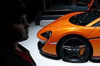 A McLaren 570S car is seen while people attend the International Auto Show 2015 in New York. 04.06.2015. Eduardo MunozAlvarez/VIEWpress.