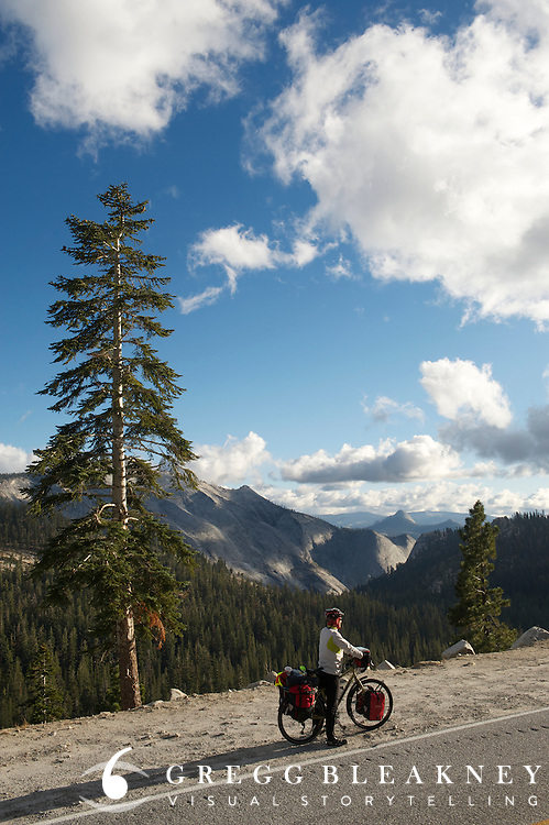 Touring Cyclist in Yosemite National Park - Adventure Cycling Sierra Cascades Route - Canada to Mexico Cycling Expedition
