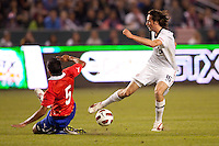 USA's Mixx Diskerud (16) moves with the ball past Chilean Sebastian Toro (3). US Men's National team played the National team of Chile to 1-1 draw at Home Depot Center stadium in Carson, California on Saturday January 22, 2010.