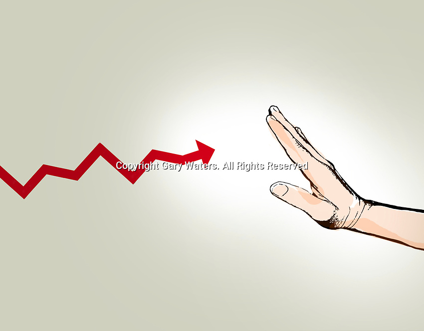 Hand stopping progress of line graph