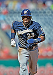 24 September 2012: Milwaukee Brewers infielder Rickie Weeks in action against the Washington Nationals at Nationals Park in Washington, DC. The Brewers fell 12-2 to the Nationals in the final game of their 4-game series, splitting the series at two. Mandatory Credit: Ed Wolfstein Photo