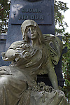 """Sculpture in Vysehrad Cemetery in Vysehrad or the """"Castle on the heights,"""" an area of Prague that includes a large fortress and park, Czech Republic, Europe"""