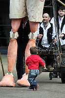 10/09/'10 16 month old Sebastian Hopkins from Naas  pictured with a 15 foot high 8 year old boy explorer puppet at The National Museum of Ireland, Collins Barracks this afternoon as they prepare for the Saturday opening spetacular Absolut Fringe 16th Annual Fringe Festival. The free show opens tomorrow night at Collins Barracks at 8pm and runs until the 26th Sept..Picture Colin Keegan, Collins, Dublin.