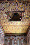 Africa, Morocco, Ouarzazate. Woode ceiling of room of Taourirt Kasbah near Ouarzazate, historical palace partially restored by UNESCO.