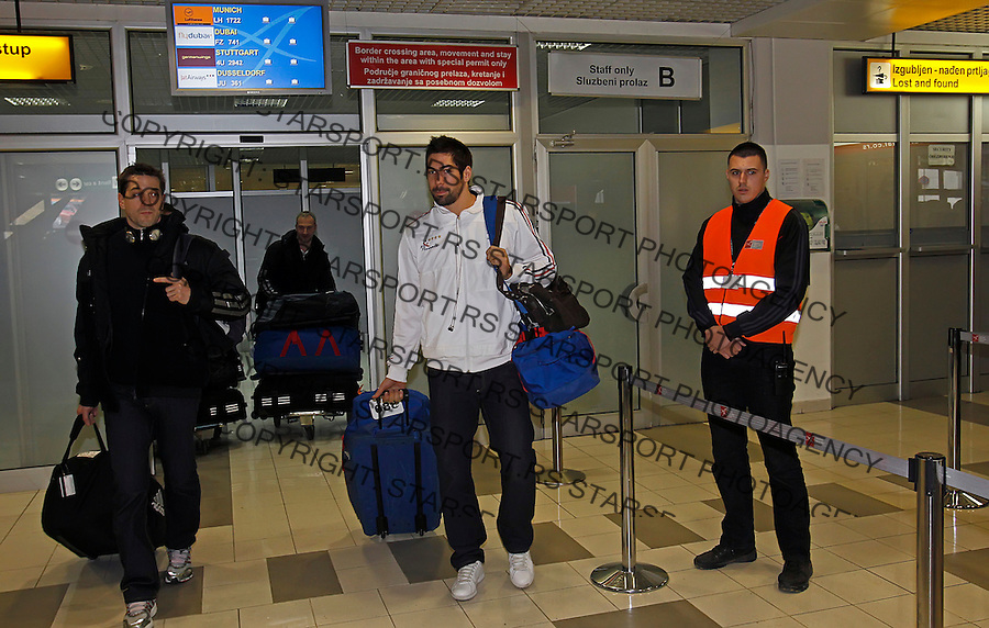 French national handball team player Nikola Karabatic arrive at Belgrade airport just one day before start of EHF EURO 2012 handball championship. France will play in group C in Novi Sad with Spain, Russia and Hungary. Belgrade, Serbia, Saturday, January 14, 2011.  (photo: Pedja Milosavljevic / SIPA Press)