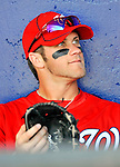 28 February 2011: Washington Nationals' outfielder Bryce Harper sits in the dugout prior to a Spring Training game against the New York Mets at Digital Domain Park in Port St. Lucie, Florida. The Nationals defeated the Mets 9-3 in Grapefruit League action. Mandatory Credit: Ed Wolfstein Photo