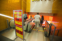 The Times Square branch of Daffy's, the bargain department store, is seen in New York on Thursday, August 23, 2012. The 51 year old chain announced that it will be closing all of its 19 stores in the next few months and will join other discounts chains such as Filene's Basement and Syms in discount heaven. The firm was founded by Irving Shulman in 1951 in New Jersey, originally named Daffy Dan's Bargain Town and sold off-price designer clothing.  (© Richard B. Levine)