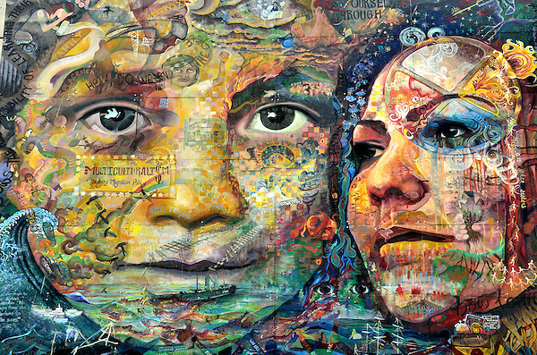 Two Women Faces Mural Belonging Action by Melanie ...