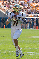 Akron wide receiver Zach D'Orazio (11) looks to pass. The Akron Zips Defeated the Pitt Panthers 21-10 at Heinz Field, Pittsburgh. Pennsylvania on September 27, 2014.