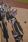 The Los Altos High School football team leaves the field after a pre-season practice Aug. 21.<br />