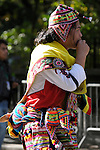 The Hispanic Parade in New York City. A man wearing traditional clothes and representing Bolivia in the Hispanic Parade in New York City.