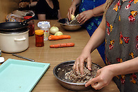 Chechen womans cooking meat and cheese steam ravioli, for the evening meal after the fourth Ramadan pray..-For security reason, the face of the adult asylum seeker have been evicted of the photography..-For security reason, the names of the adult asylum seeker have been change. .-Article 9 of the Act of 13 June 2003 on grating protection on the Polish territory (Journal of Laws, No 128, it. 1176) personal data of refugees are an object of particular protection..-Cases where publication of a picture or name of asylum seeker had dramatic consequences for this persons and is family back in Chechnya. .Please have safety of those people in mind. Thank you.