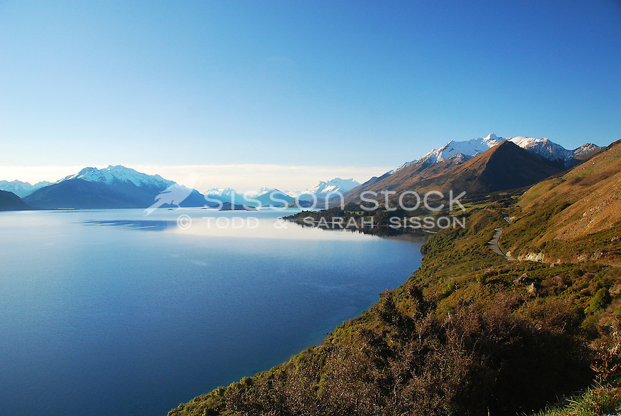 Lake Wakatipu, Richardson Mountains and the road to Glenorchy, South Island, New Zealand<br /> <br /> NO NEW ZEALAND SOUVENIR OR POSTCARD LICENCING PERMITTED