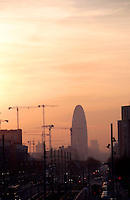 Sunset on Agbar Tower boarding Diagonal Mar, Barcelona, Catalonia, Spain; Jean Nouvel (Fumel, Lot-et-Garonne, France 1945) and B720 architectural studio headed by Fermín Vázquez; June 1999 ? Sept 2004; 142 meters height Picture by Manuel Cohen