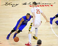 Blue Devils Rasheed Sulaimon tries to get around Alex Len of the Terrapins. Maryland defeated Duke 81-83 at the Comcast Center in College Park, MD on Saturday, February 16, 2013. Alan P. Santos/DC Sports Box