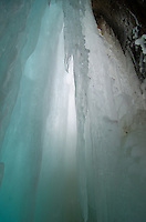 The natural color and delicate ice of the Grand Island ice cave. Munising, MI