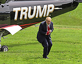 Donald Trump, a candidate for the 2016 Republican nomination for President of the United States, arrives via helicopter at the Albemarle Estate at the Trump Winery in Charlottesville, Virginia on Tuesday, July 14, 2015.   Trump was in Virginia to appear at the ribbon cutting for the new business venture.<br /> Credit: Ron Sachs / CNP<br /> <br /> (RESTRICTION: NO New York or New Jersey Newspapers or newspapers within a 75 mile radius of New York City)