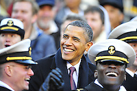 President Barack Obama watches the game from the stands with Midshipmaen. Navy Midshipmen defeated Army Black Knights 27-21 during the Army vs. Navy game at the FedEx Field in Landover, MD on Saturday, December 10, 2011. Alan P. Santos/DC Sports Box