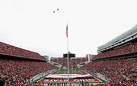 Two military jets  fly over Ohio Stadium before the start of the game against Illinois on November 3,  2012 as part of a military appreciation day.  (Chris Russell/The Columbus Dispatch)