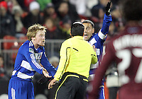 Dax McCarty#13 and Daniel Hernadez#2 of FC Dallas protest a call by referee Baldomero Toledo during MLS Cup 2010 at BMO Stadium in Toronto, Ontario on November 21 2010. Colorado won 2-1 in overtime.