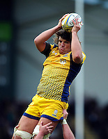 Donncha O'Callaghan of Worcester Warriors wins the ball at a lineout. Aviva Premiership match, between Leicester Tigers and Worcester Warriors on October 8, 2016 at Welford Road in Leicester, England. Photo by: Patrick Khachfe / JMP
