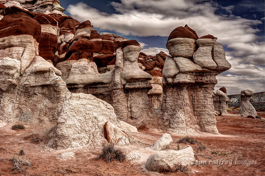 Unusual hoodoos in Blue Canyon on the Hopi Reservation in northeastern Arizona