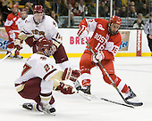 Patch Alber (BC - 27), (K Hayes) Wade Megan (BU - 18) - The Boston College Eagles defeated the Boston University Terriers 3-2 (OT) in their Beanpot opener on Monday, February 7, 2011, at TD Garden in Boston, Massachusetts.