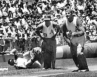 Oakland Athletics in a &quot;sack race&quot; before game.<br />