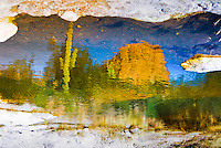 &quot;POSTCARD FROM THE EDGE&quot;<br /> <br /> Post card from the edge of a pothole in the river at Tortilla Flats. Cactus, mountains and blue sky in this desert landscape are reflected in the water. ORIGINAL 24 X 36 GALLERY WRAPPED CANVAS SIGNED BY THE ARTIST $2,500. CONTACT FOR AVAILABILITY.