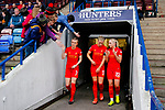 Liverpool Ladies 2 Everton Ladies 1, 19/03/2017. Select Security Stadium, SSE FA Cup Fifth Round. Liverpool's Kate Longhurst gives a high five as she emerges from the tunnel for the second half of the game between Liverpool Ladies v Everton Ladies at The Select Security Stadium, Widnes, in the Women's SSE FA Cup Fifth Round. Photo by Paul Thompson.