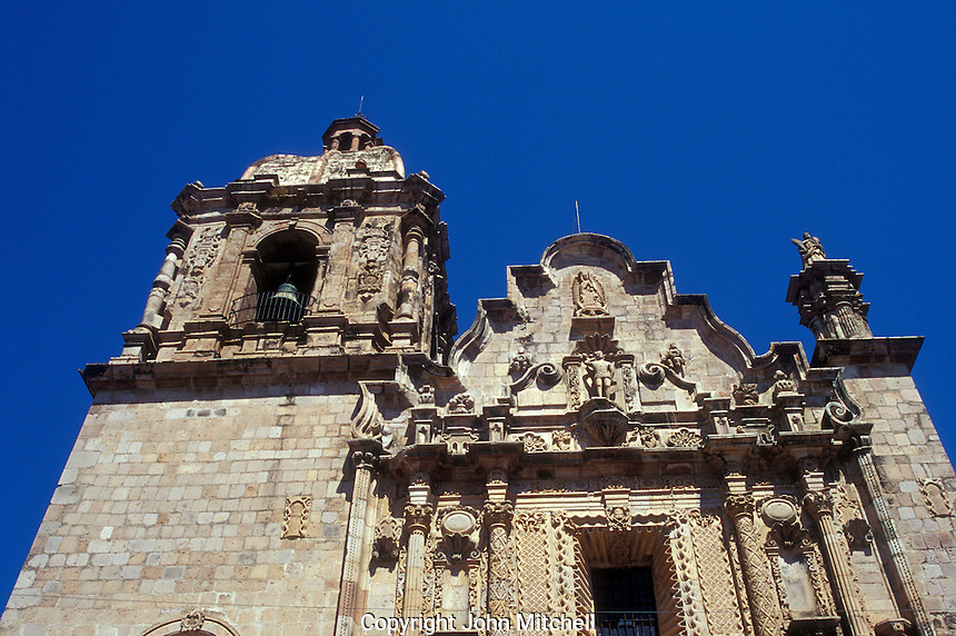 Baroque facade of The 18th-century Church of San Sebastian in the Spanish colonial mining townof Concordia near Mazatlan, Sinaloa, Mexico..