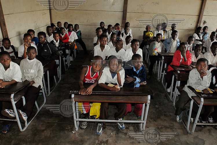 Students sit at their desks in a classroom during a lesson at Forces Primary School.