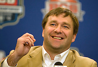 Alabama defensive coordinator Kirby Smart smiles while talking with the reporters during BCS Championship Alabama Defensive Press Conference at Marriott Hotel at the Convention Center in New Orleans, Louisiana on January 7th, 2012.