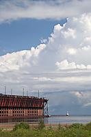 The iron ore shipping dock at Presque Isle Park in Marquette Michigan.