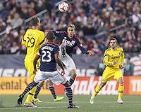 Foxborough, Massachusetts - November 9, 2014: In Major League Soccer (MLS) Eastern Conference aggregate goal semifinal, the New England Revolution (blue/white) defeated Columbus Crew (yellow), 3-1, at Gillette Stadium and advance to the Eastern Conference finals with aggregate goals of 7-3 (4-2 and 3-1).