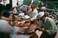 May 1989 --- Halal butcher in Marseille, market Boulevard Oddo   Image by © JP Laffont