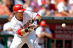 5 September 2005: Gary Bennett, catcher for the Washington Nationals, lays down a sacrifice bunt in the 6th inning against the Florida Marlins. The Nationals defeated the Marlins 5-2 at RFK Stadium in Washington, DC. Mandatory Photo Credit: Ed Wolfstein.