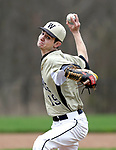 Beacon Falls, CT- 24 April 2017-042417CM01- Woodland's Matt Hicks delivers a pitch during their baseball matchup against Crosby on Monday.    Christopher Massa Republican-American